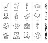 set of 16 icons such as wheel ...