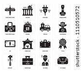 set of 16 icons such as sit...