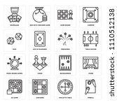 set of 16 icons such as pinball ...