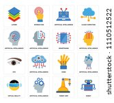 set of 16 icons such as robot ...