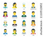 set of 16 icons such as clerk ... | Shutterstock .eps vector #1110512852