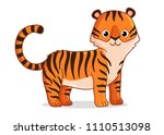 cute tiger stands on a white... | Shutterstock .eps vector #1110513098