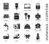set of 16 icons such as work...