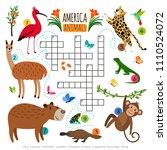 animals crossword puzzle. wild... | Shutterstock .eps vector #1110524072