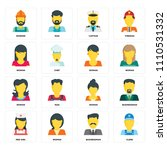 set of 16 icons such as clerk ... | Shutterstock .eps vector #1110531332
