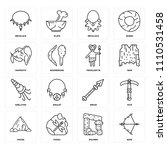 set of 16 icons such as bow ...