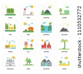 set of 16 icons such as desert  ...