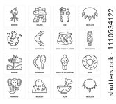 set of 16 icons such as... | Shutterstock .eps vector #1110534122