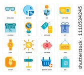 set of 16 icons such as bag ...