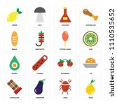 set of 16 icons such as pear ...