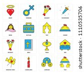 set of 16 icons such as tray ...