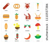 set of 16 icons such as lettuce ...