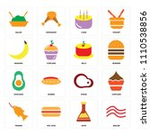 set of 16 icons such as bacon ...