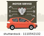 red car with infographics of... | Shutterstock .eps vector #1110542132