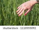 female hand that touches the... | Shutterstock . vector #1110555092