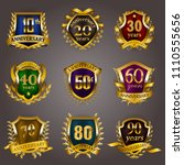 set of gold anniversary badges... | Shutterstock .eps vector #1110555656