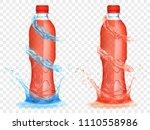 two translucent plastic bottles ... | Shutterstock .eps vector #1110558986