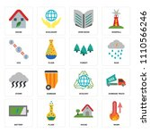 set of 16 icons such as warm ...