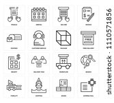 set of 16 icons such as express ...