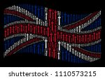 waving uk state flag on a black ... | Shutterstock .eps vector #1110573215
