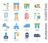 set of 16 icons such as bus ... | Shutterstock .eps vector #1110575162