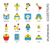 set of 16 icons such as dinner  ...