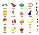 set of 16 icons such as carrot  ... | Shutterstock .eps vector #1110575195