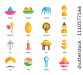 set of 16 icons such as powder  ...