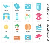 set of 16 icons such as sun...