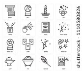 set of 16 icons such as tarot ...