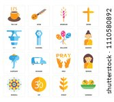 set of 16 icons such as sandesh ...