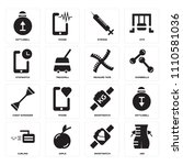 set of 16 icons such as abs ...