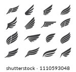 black wing icon elements | Shutterstock .eps vector #1110593048