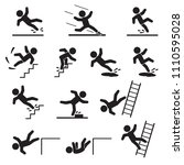 people falling or slipping icon ... | Shutterstock .eps vector #1110595028