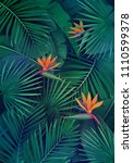 vector tropical background with ... | Shutterstock .eps vector #1110599378