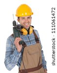 worker holding electric drill... | Shutterstock . vector #111061472