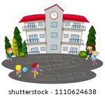 children playing hopscotch in... | Shutterstock .eps vector #1110624638