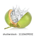 green coconut with water splash ... | Shutterstock . vector #1110639032