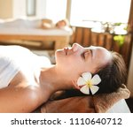 caucasian woman relaxing with... | Shutterstock . vector #1110640712