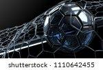 clear blue glass soccer ball... | Shutterstock . vector #1110642455