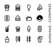 fast food icons with white... | Shutterstock .eps vector #1110645632