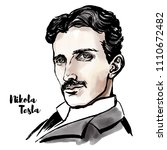 nikola tesla watercolor vector... | Shutterstock .eps vector #1110672482
