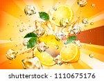 dynamic splashing juice with... | Shutterstock .eps vector #1110675176