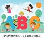 cartoon kids with abc letters ... | Shutterstock .eps vector #1110679868