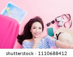 travel woman selfie happily and ... | Shutterstock . vector #1110688412