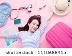 beauty woman smile happily and... | Shutterstock . vector #1110688415