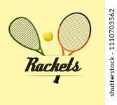 two tennis rackets yellow... | Shutterstock .eps vector #1110703562
