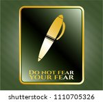 gold emblem with pen icon and ... | Shutterstock .eps vector #1110705326