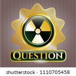 golden emblem with nuclear ... | Shutterstock .eps vector #1110705458
