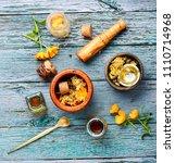healing calendula flowers and... | Shutterstock . vector #1110714968